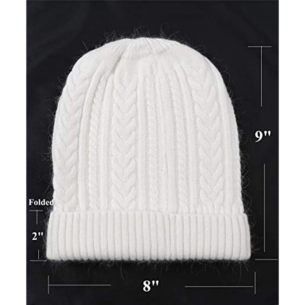 3f996ae3ede Women Men Winter Beanie Hat - Cashmere Wool Acrylic Cable Thick Knit  Knitted Warm Watch Stocking Skull Knit Caps White at Mens Clothing store