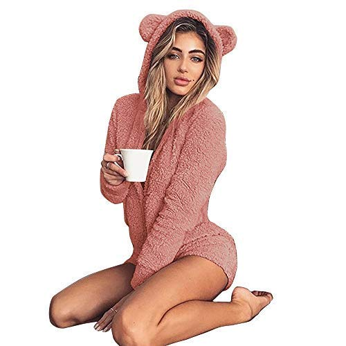 Okvpajdo Women Sherpa Fleece Pajama Suit Hooded Cute Bear Ears Long Sleeve Zipper Short Jumpsuit Sleepwear Romper -