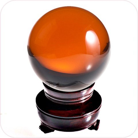 - Amlong Crystal Amber Crystal Ball 50mm (2 in.) Including Wooden Stand and Gift Package