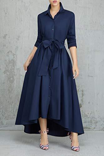 Navy Elegant Long Belt Down with Pockets Maxi Blue Shirt Collar Button Playworld Dresses Dress Women T 8Aqg55xn6