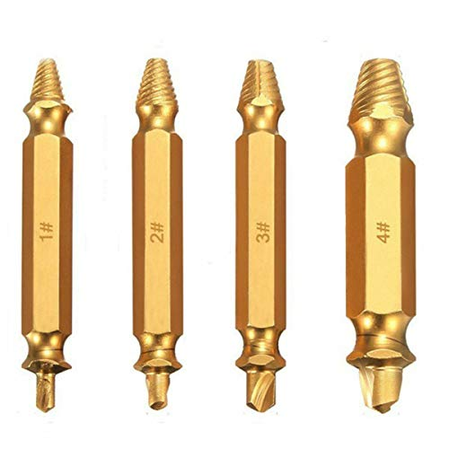 Screw Extractor Drill Bit for Damaged Broken Stripped Screws Tool Set, Bolt Remover, Titanium Coated, Assorted 4 Sizes