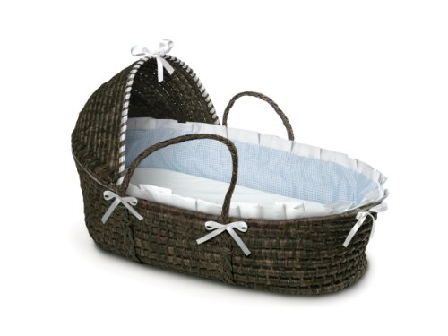 Hooded Baby Moses Basket with Liner, Sheet, and Pad