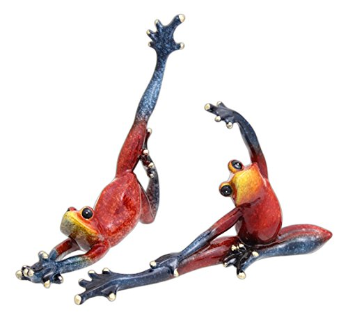 - Set of 2 Assorted Green Tree Products Speckled Red Yoga Posing Tree Frogs