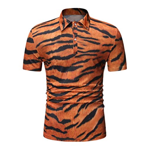 SOWU Men Polo T-Shirt Men's Summer Fashion Tiger Print Casual Short Sleeve Lapel Button Tee Blouse Tops Yellow