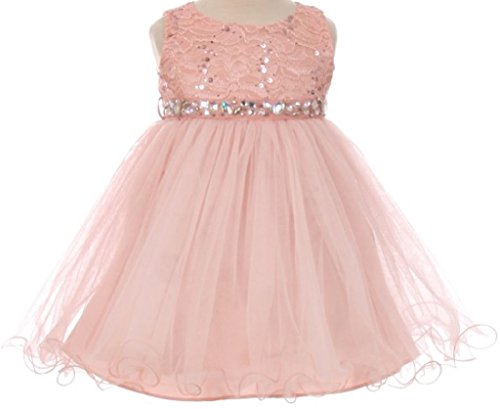 Baby Girls Sequin Stone Lace Shiny Tulle Easter Infant Flowers Girls Dresses Blush M (Stone Sequins)