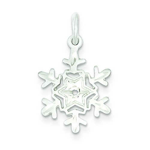 Sterling Silver Diamond Cut Snowflake Charm (Charm Diamond Snowflake Cut)