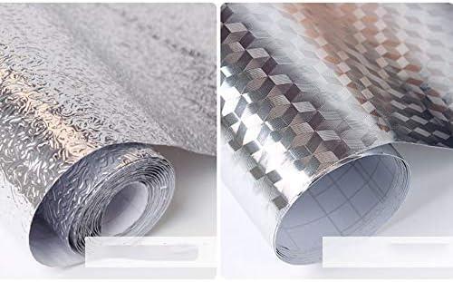 N//V /Épais Imperm/éable Anti-Huile Aluminium Autocollant Tapis de Papier peint Argent/é Pour Tiroir Cuisine Salle de Bains Argent 60 cm x 100 cm