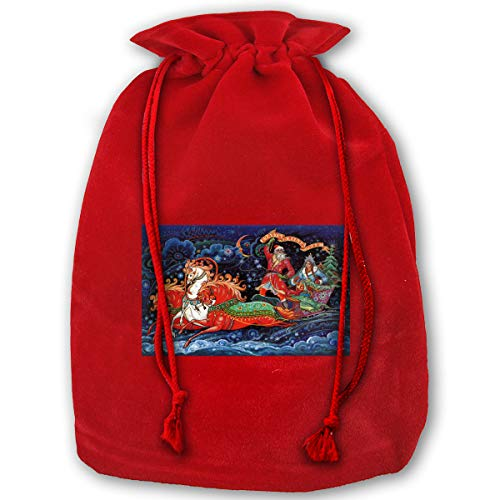 Lao Yang Mai Christmas Snegurochka Ded Moroz Sled XL Large Bulk Merry Christmas Xmas Eve Gift Bags Candy Treat Drawstring for Reusable Bundle Reusable Party Carrying Toys Themed