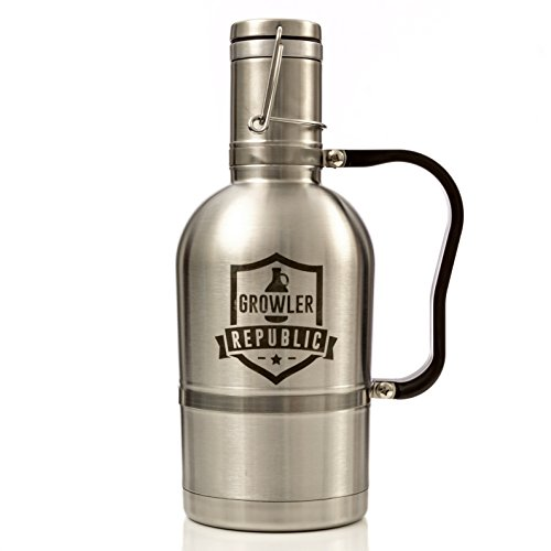 The Tankard - Stainless Steel Beer Growler With Handle & Swing Top 64oz Double Wall (Gallon Stainless Steel Swing Top)