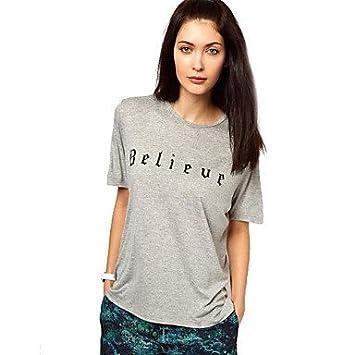 Mujer Camisas y blusas de las mujeres Carta Gris Camiseta, cuello redondo manga corta,