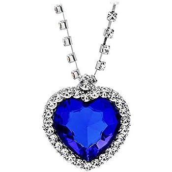 b3d2788efe737 Amazon.com: Huge Titanic Heart Of The Ocean Sapphire Blue CZ Crystal ...