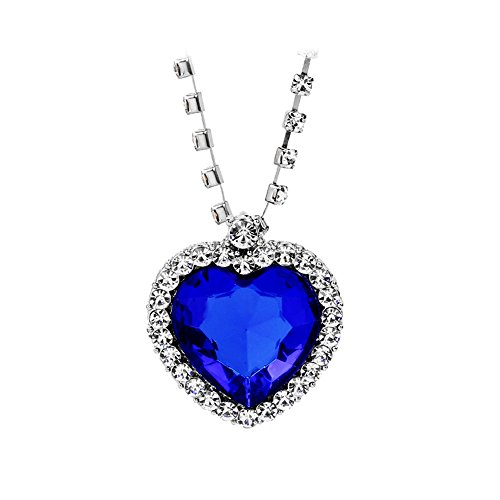 (JoJo & Lin Titanic Ocean Heart Pendant Necklaces for Women Blue Crystal Rhinestone Silver Plated Necklace Jewelry for)