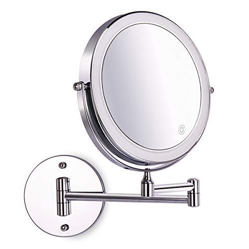8 Inch Wall Mounted Makeup Mirror Adjustable LED Light Touch Screen 1X/10X -