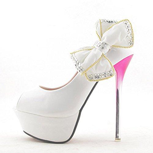 Getmorebeauty Dames Kristal Strikjes Glitter Feestjurk Hoge Hak Wit