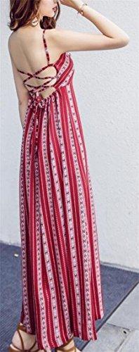 Jaycargogo Des Femmes De Courroie De Spaghetti Bandes Verticales Robe De Midi Élevé Fendu 1