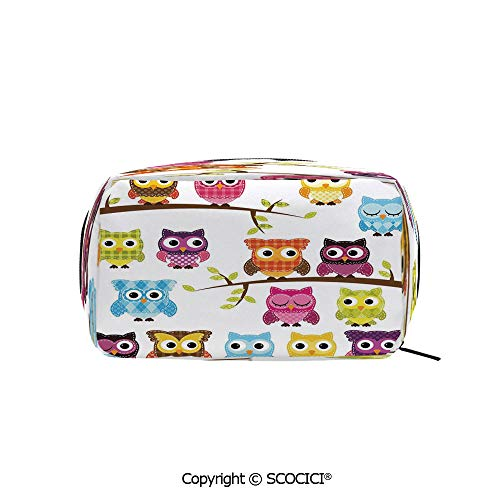 (Printed Portable rectangle Makeup Cosmetic Bag Set of Patchwork Quilt Style Owls on Branches with Green Leaves Bird Mascots Print Durable storage bag for Women Girls)
