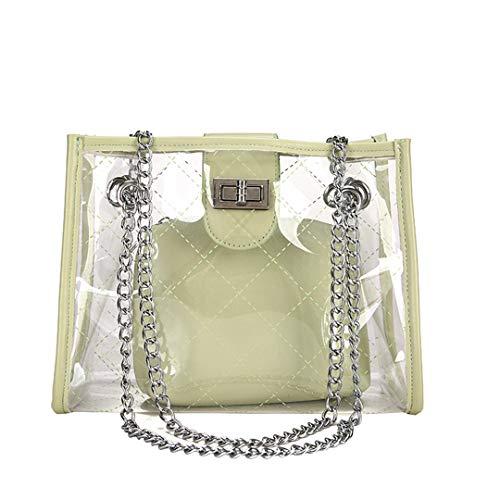 Transparent Jelly Bags Fashion PVC Female Shoulder Bags Handbags Women Beach Bag Crossbody Bags GREEN (Tasseled Satchel Handbag)