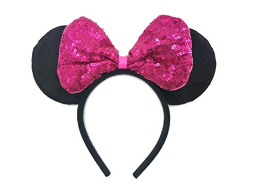 MeeTHan Mickey Mouse Minnie Mouse Sequin Ears Headband: M8 (SQ-Pink2)