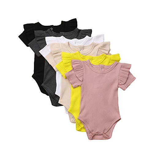 Unisex Baby Boy Girl Short Sleeve Ruffle Romper Bodysuit Jumpsuit Tops Summer Spring Clothes (3-6 Months, White A)