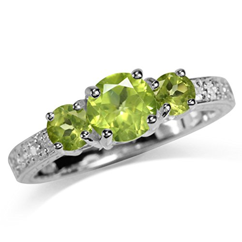 1.5ct. 3-Stone Natural Peridot & White Topaz Gold Plated 925 Sterling Silver Ring Size 6 ()