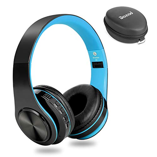 Dozod Bluetooth Over Ear Headphones, Wireless Foldable Hi-Fi Deep Bass Headset with Mic, Wired/SD Card Headphone with Volume Control for iPhone/iPad/Samsung/PC (Black/Blue) (Memory Card Headphones)