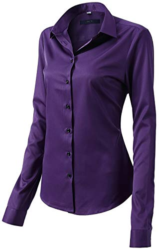 Womens Long Sleeve Button Down Collar Office Formal Casual Shirt Blouse Purple Size 14