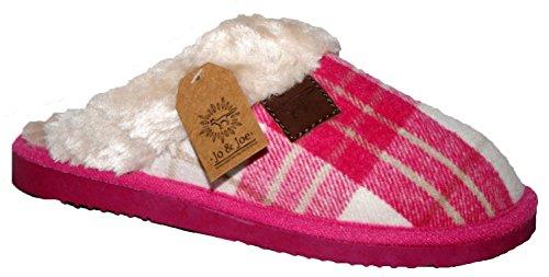 Jo and Joe Tetbury - Zapatillas abiertas de estar por casa para mujer, interior de piel, detalle decorativo de piel, invierno Fushia Check