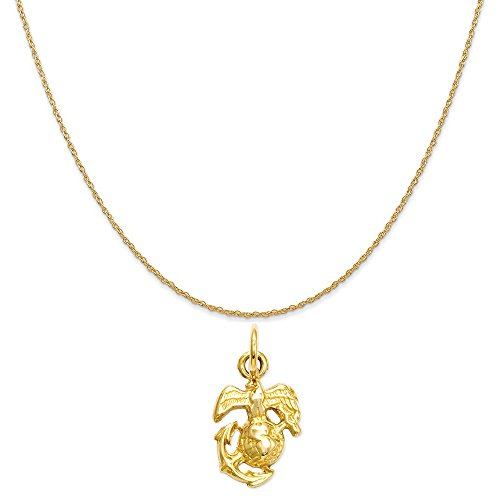 14k Gold Us Marine (14k Yellow Gold U. S. Marine Corps Charm on a 14K Yellow Gold Rope Chain Necklace, 20