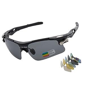 Sports Sunglasses, L·V·X·ING LVX548 Mens Polarized Sunglasses Mens Glasses Exchangeable 5 UV400 Lenses Cycling Hiking Running Outdoor Sunglasses Upgraded Design, Black