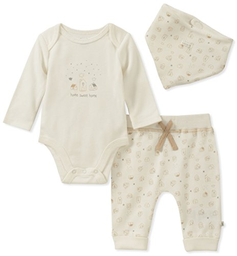 absorba Baby Boys 2 Pieces Creeper Pants Set, Vanilla/Silver, 0-3 Months ()