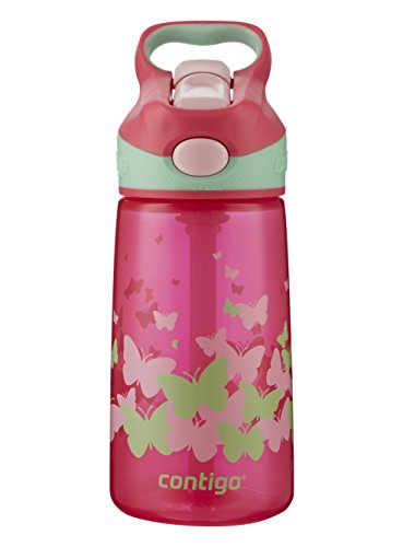 Contigo AUTOSPOUT Straw Striker Kids Water Bottle, 14 oz, Sprinkles Pink Monarch
