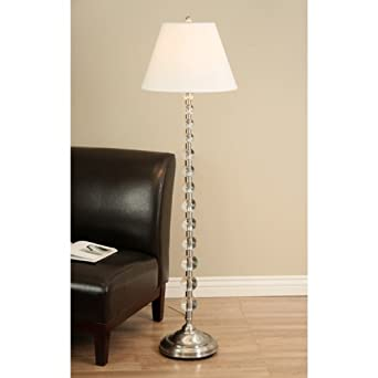 Endless Sphere Off White Shade Floor Lamp Light Fixture Brushed Nickel  Finish