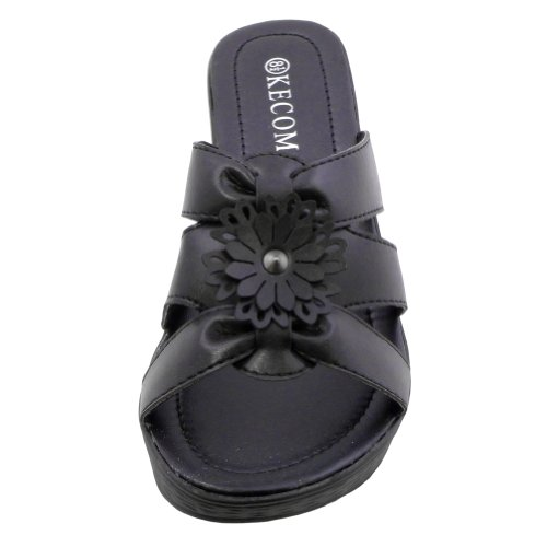 Blancho Womens WJ-002 Wedge Sandals Black xWopwdkm8V