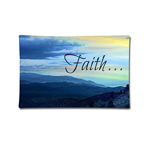 Curitis Pillow Cover 20''X30'' Pillowcases Faith Print 100% Cotton Standard Case by Curitis