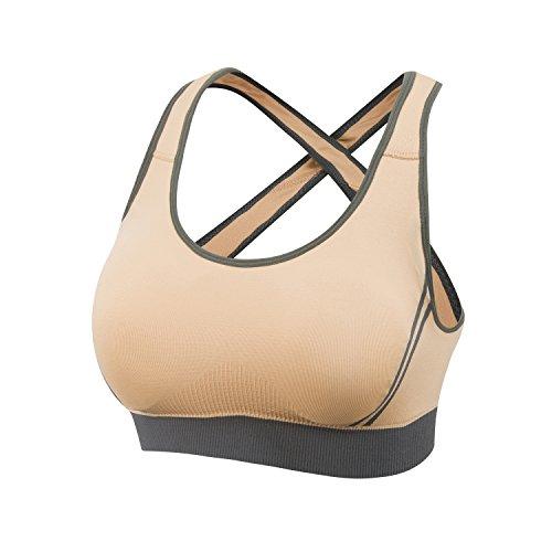 Beownwear Women's Wireless Moving Comfort Sports Bra (M, Beige)