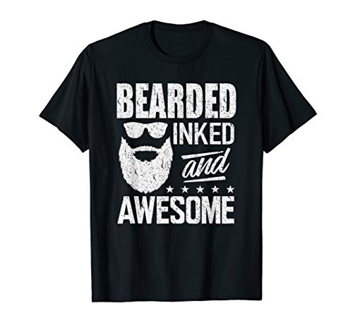 Bearded Inked & Awesome Shirt Beard Tattoo Lover T-Shirt (Beards Shirts For Women)