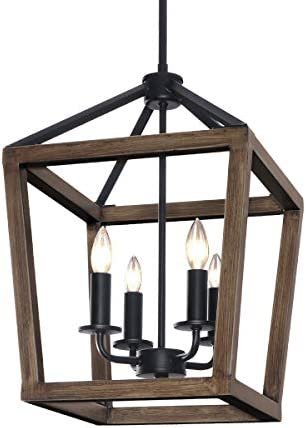 KingSo 4-Light Chandelier Rustic Metal Pendant Light, Adjustable Height Square Pendant Ceiling Hanging Light Fixture with Oil Rubbed Bronze Finish for Bedroom Kitchen Island Livingoom Farmhouse Foyer