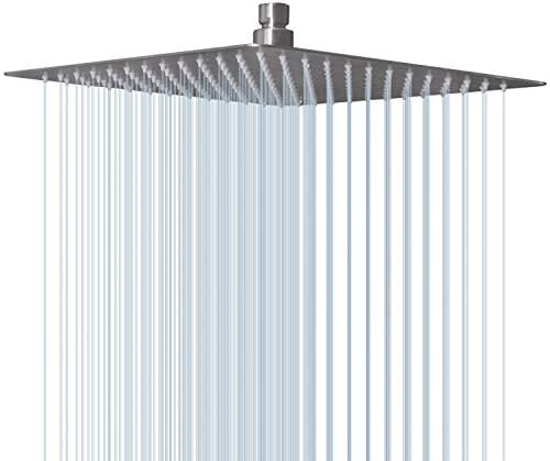 EMBATHER 12 Inches Large Square Rain Shower Head, Stainless Steel High Pressure ShowerHead with Brushed Nickel Finished, Ultra Thin Waterfall Full Body Coverage with Silicone Nozzle Easy to Clean