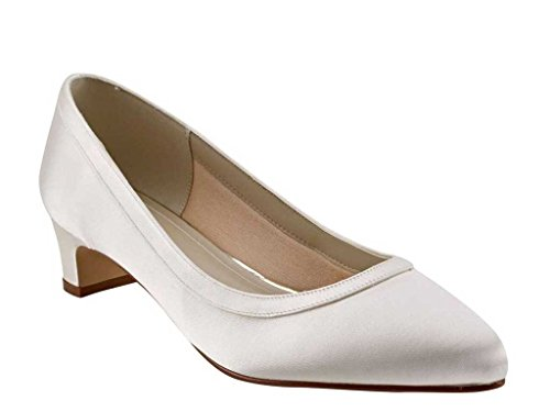 Rainbow Club Gisele - Wide Fitting Ivory Satin Bridal Court Shoes