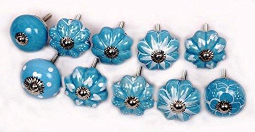 (Glitknob 10 Knobs Sky Blue & White Hand Painted Ceramic Knobs Cabinet Drawer Pull)