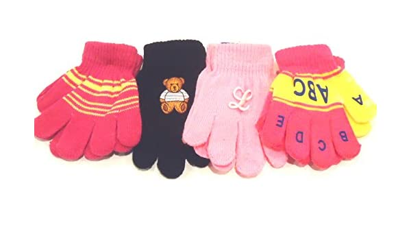 Four Pairs Magic Stretch Gloves for Infants Ages 1-3 Year with Monogram Letters