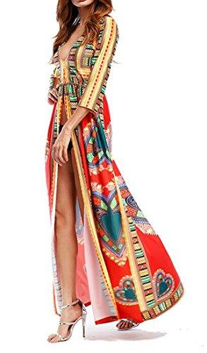 Imprimé Tribal De Base Cromoncent Femmes Dashiki Afrique V-cou Robes Longues Rouges