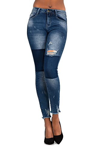 With Lustychic Jeans Patchwork Blue Donna xHwvU6H7q