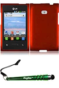 FoxyCase(TM) FREE stylus AND For LG Optimus Logic L35G L38C L38G L3 E400 ZONE VS410 Rubberized Cover Case - Orange cas couverture