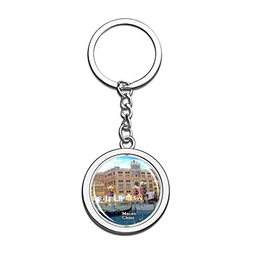(Casino at Venetian Macao China Keychain 3D Crystal Spinning Round Stainless Steel Keychains Travel City Souvenir Key Chain Ring)