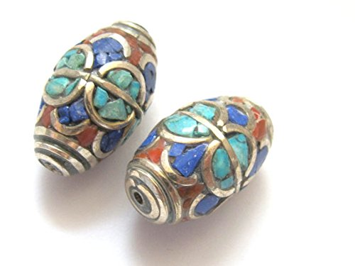 - 4 Beads - Tibetan brass bead with lapis coral and turquoise - BD235