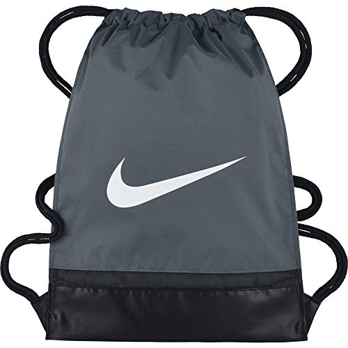 Nike Brasilia Training Gymsack, Drawstring Backpack with Zippered Sides, Water-Resistant Bag, Flint Grey/Black/White from Nike