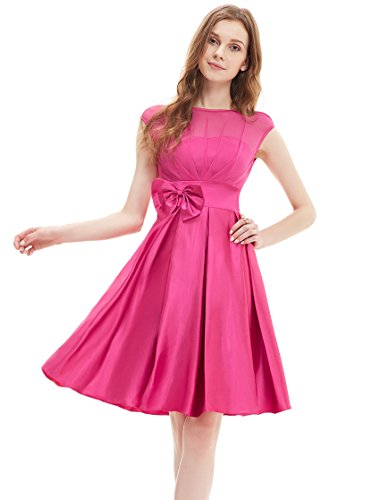 Ever Pretty Womens Cap Sleeve Illusion Neckline Wedding Guest Dress 6 US Hot Pink
