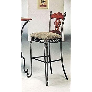 This item Set of 2 Tuscan Style Metal Wood Bar Stools