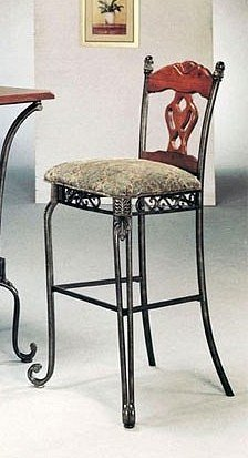 Set of 2 Tuscan Style Metal & Wood Bar Stools